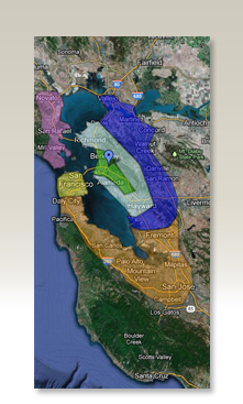 SF Bay Area delivery map